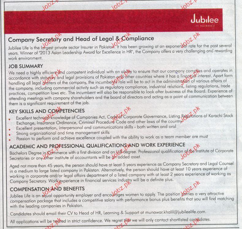 Company Secretary and Head of Legal Job Opportunity