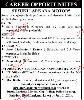 Sales Executives, Service Advisers Job Opportunity