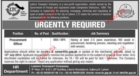 Procurement Officer Job in Lahore Transport Company