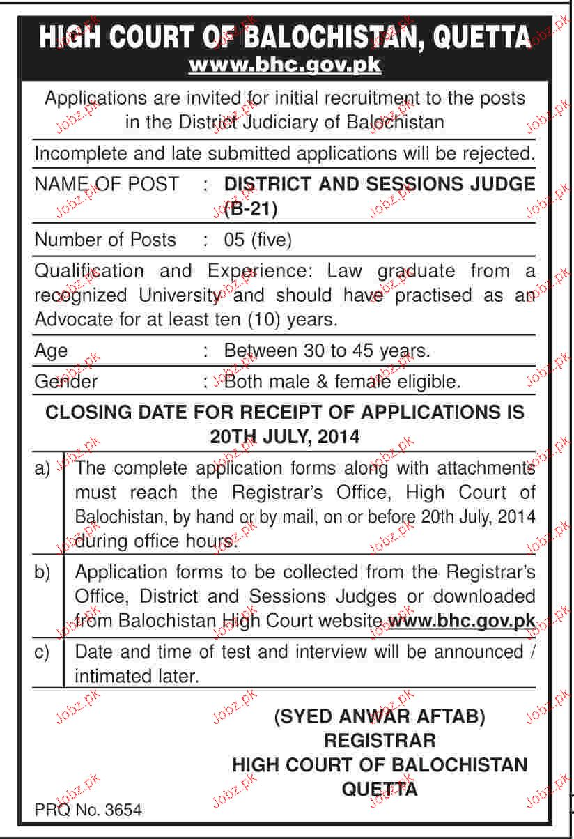 District & Sessions Judges Job in High Court of Balochistan