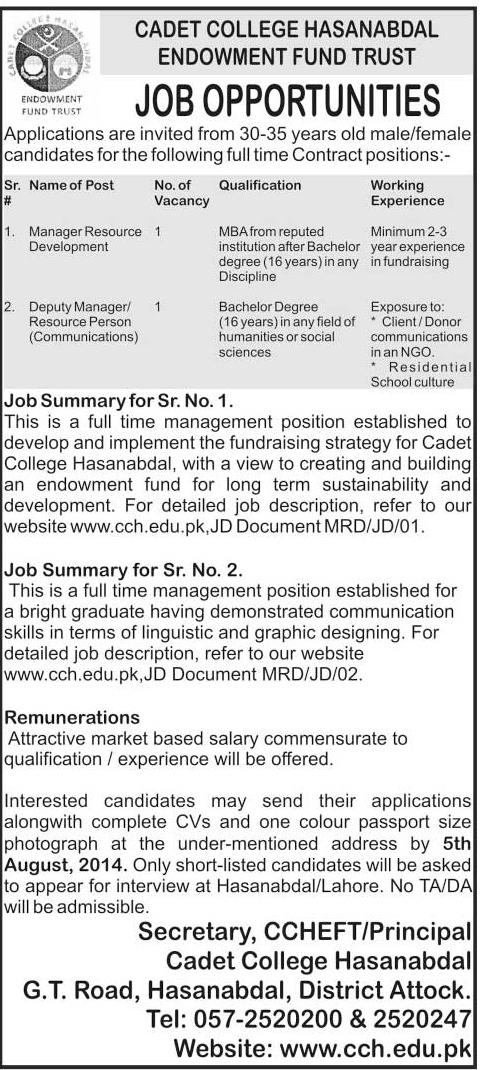 Manager Resource Development Job in Cadet College Hasan Abda