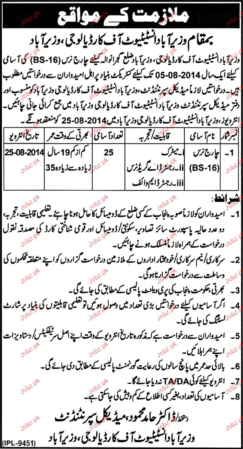 Charge Nurses Job in Wazirabad Institute of Cardiology