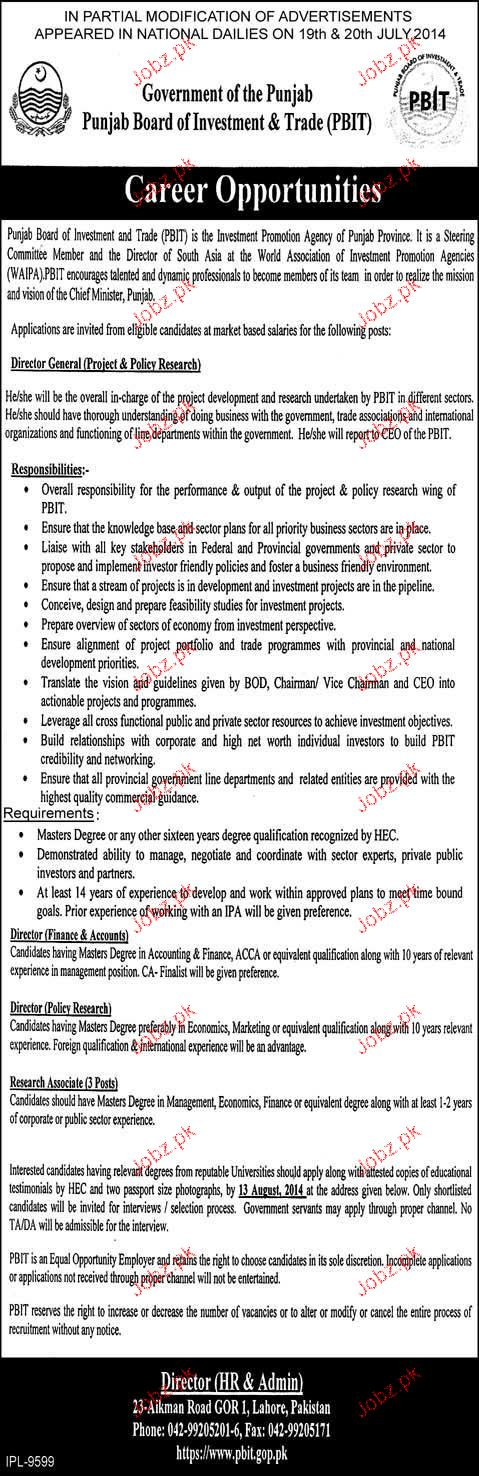 Director General Projects, Director Finance Job Opportunity