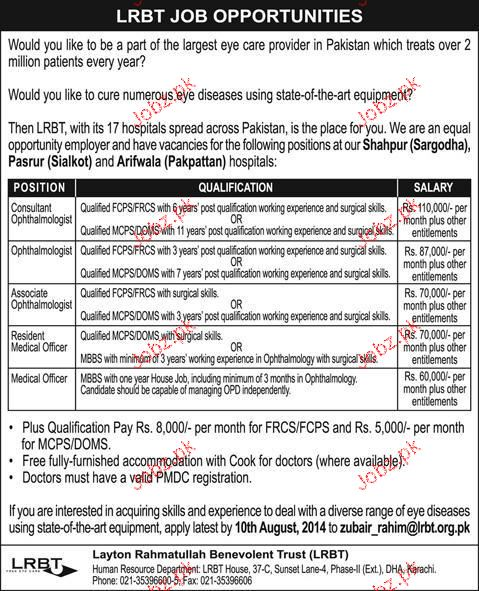 Consultants Ophthalmologist, Associate Ophthalmologist Wante