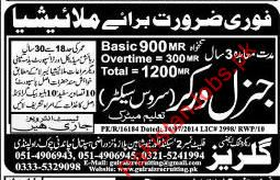 General Workers Required for Malaysia