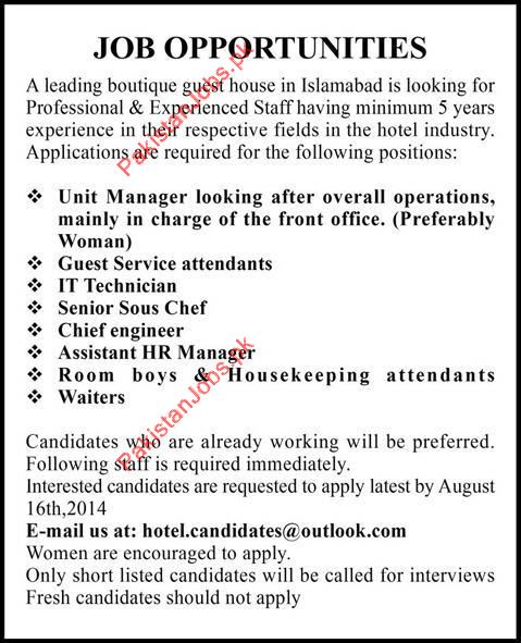Unit Manager, IT Technician, Chef, Chief Engineer, Room Boys