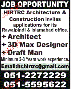 Architects, 3D max Designers and Draftman Job Opportunity