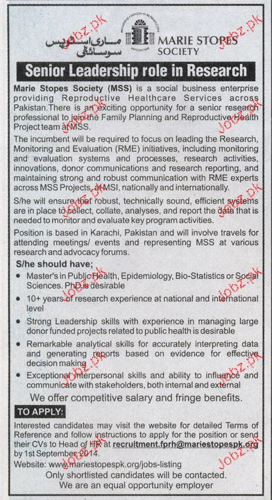 Senior Research Professionals Job Opportunity