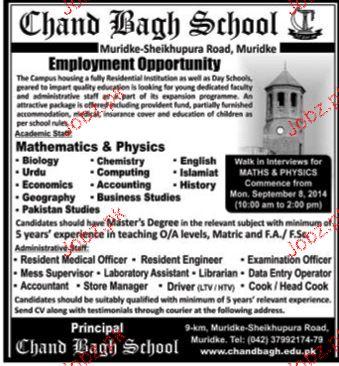 Science Teachers Job in Chand Bagh School