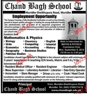 Teaching Staff Job  Chand Bagh School