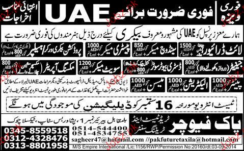 Light Drivers, Pastery Makers, Electricians Job Opportunity