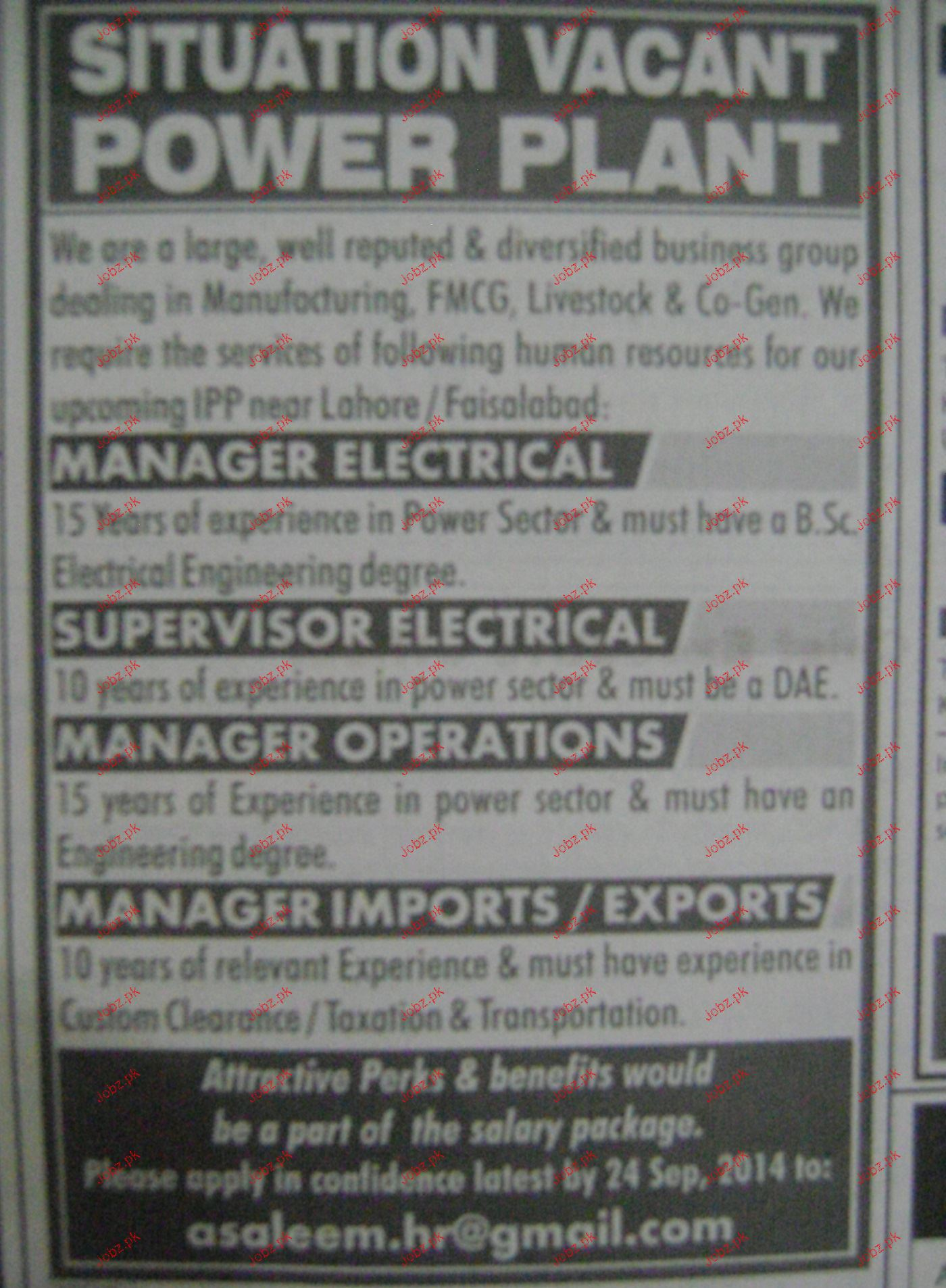 Manager Electrical, Supervisor Electrical Job Opportunity