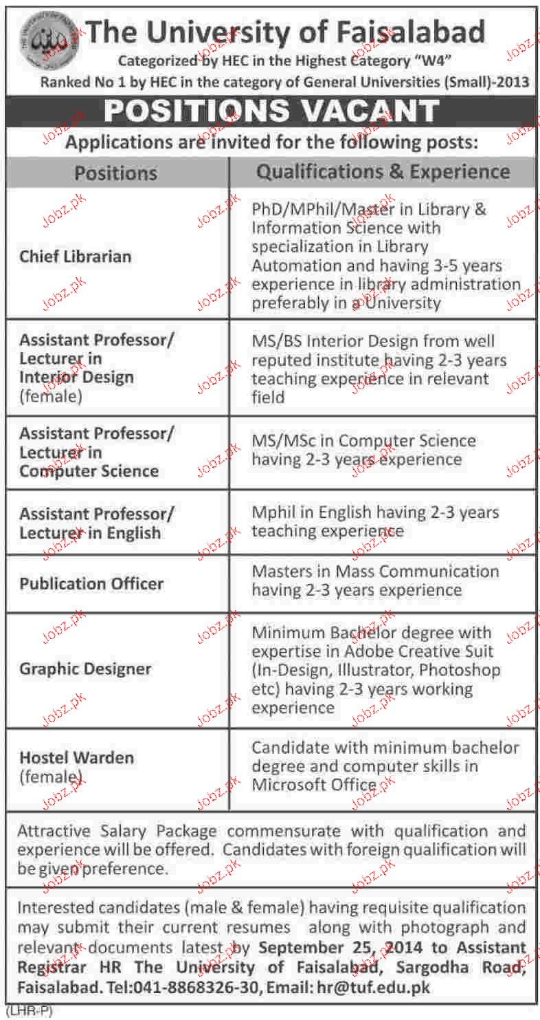 Chief Librarian, Assistant Professors Job Opportunity