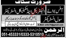 Electrical Instructor, Mechanical Instructor Job Opportunity