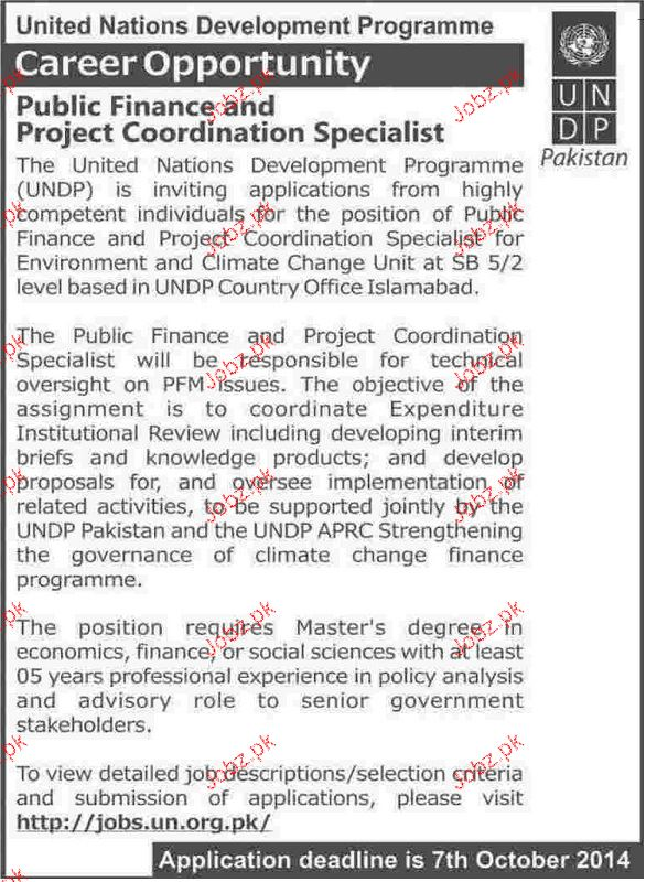 Public Finance and Project Coordination Specialist Wanted