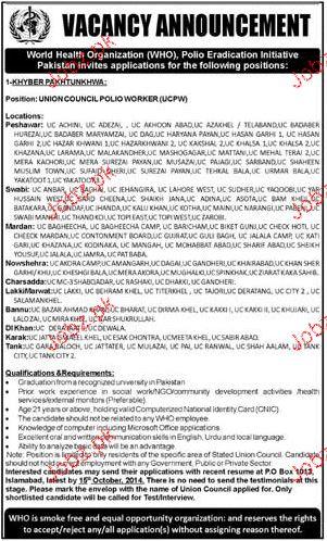 Union Council Polio Worker Job in World Health Organization