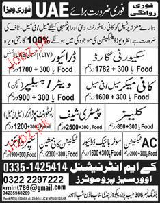 Drivers, Security Guards, Waiters Job Opportunity