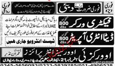 Factory Workers and Data Entry Operators Job Opportunity