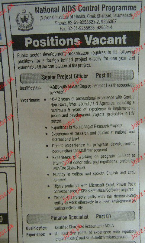 Senior Project Officers, Finance Specialists Wanted