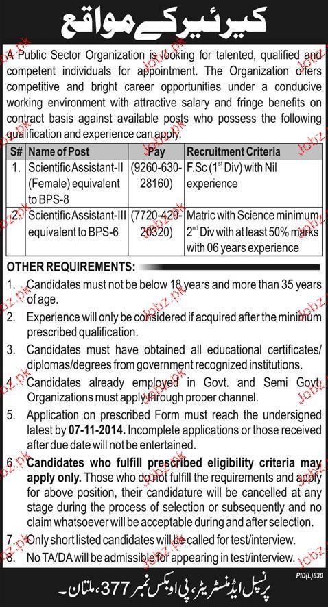 Scientific Assistant II and Scientific Assistant-III Wanted