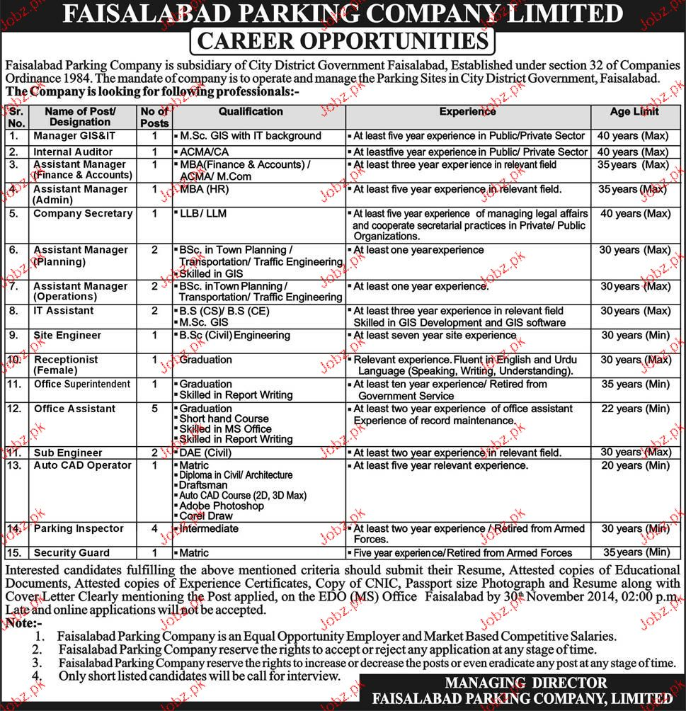 Manager GIS, Assistant Manager Admin Job Opportunity