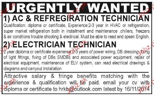 AC & Refrigeration Technicians  Job Oprtunity