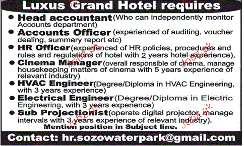 Head Accountants, HR officers, Cinema Manager Wanted
