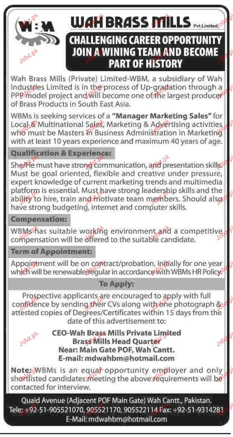 Manager Marketing Sales Job in Wah Brass Mills Wanted