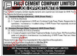 Assistant Manager Job in Fauji Cement Company Limited