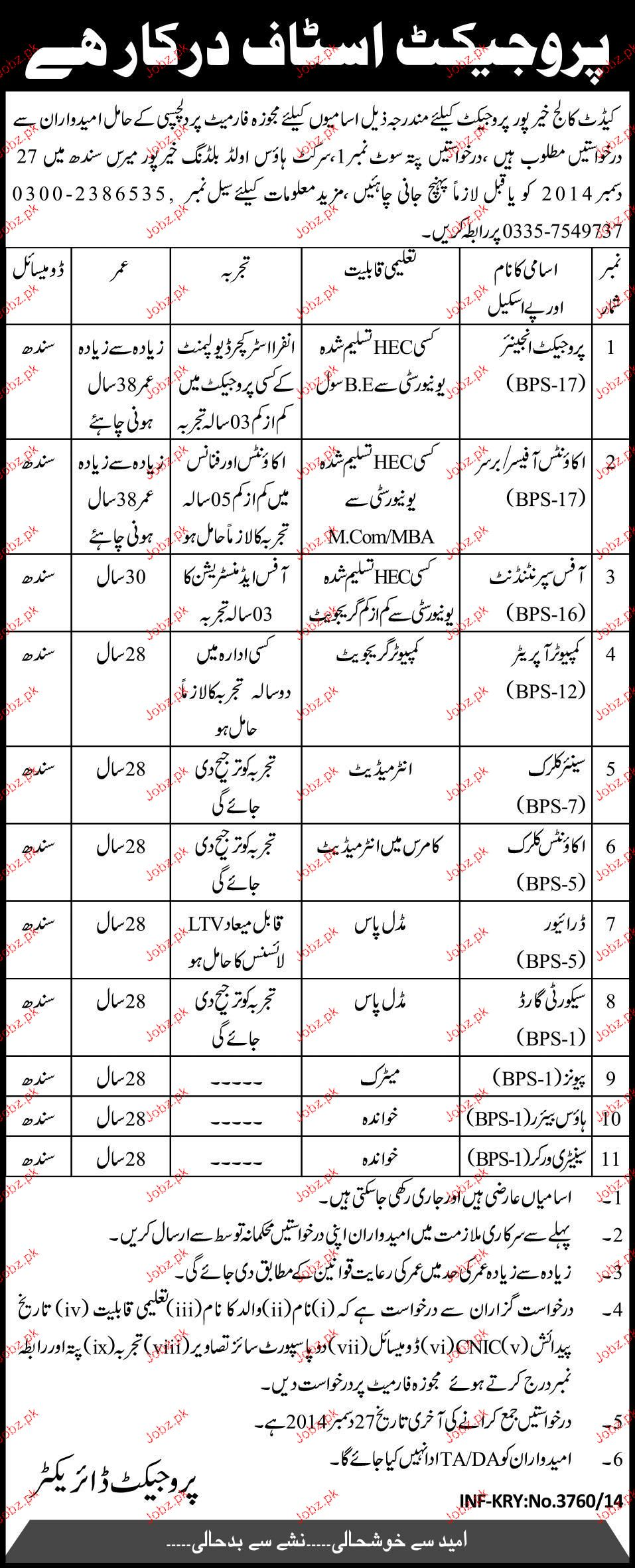 Project Engineers, Accounts Officers Job in Cadet College