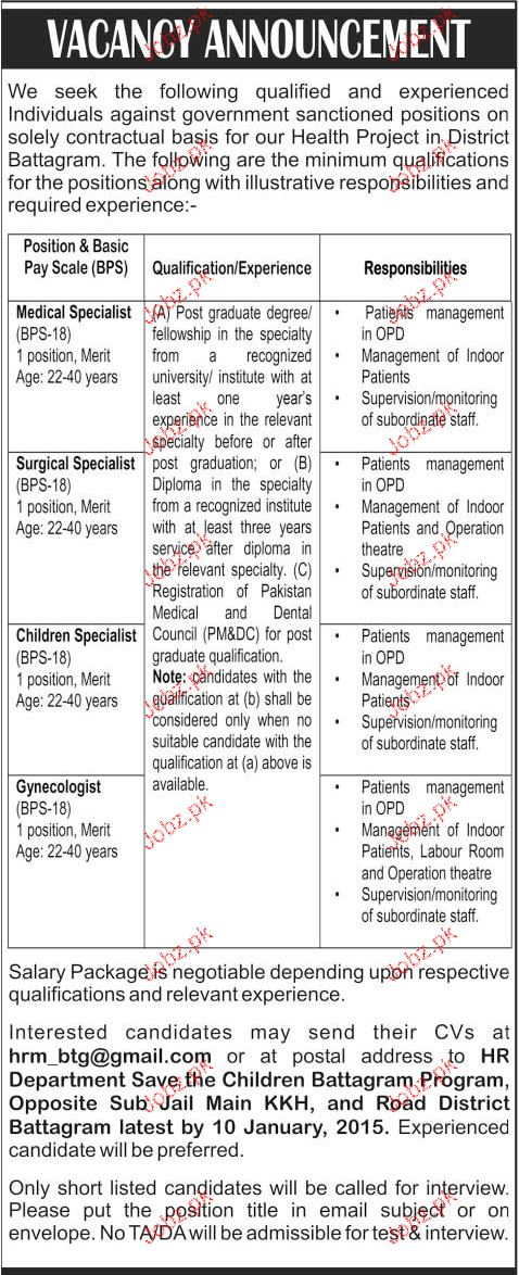 Medical Specialist, Surgical Specialist Job Opportunity
