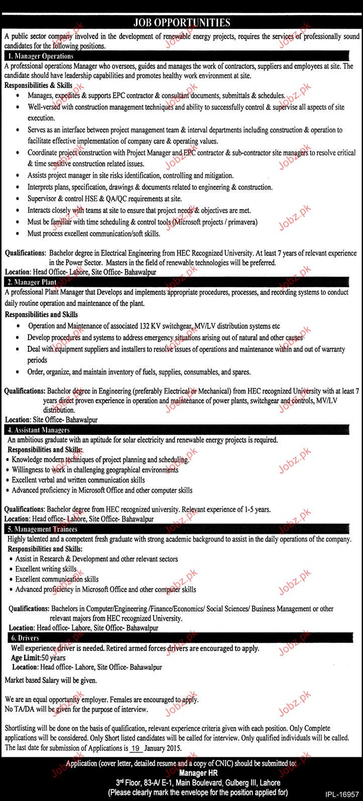 Manager Operations, Manager Plant Job Opportunity