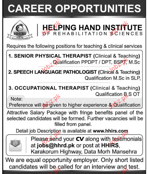 Senior Physical Therapist, Speech Language Therapist Wanted