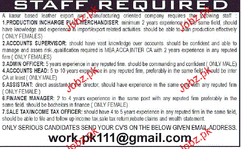 Production Incharge, Accounts Supervisors Job Opportunity