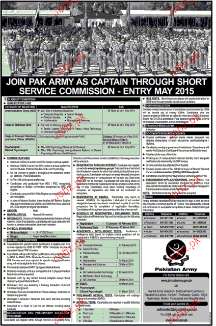 Join Pak Army As Captain Through Commission Service