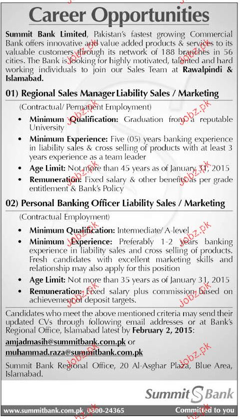 Regional Sales Manager and Personal Banking Officer Wanted