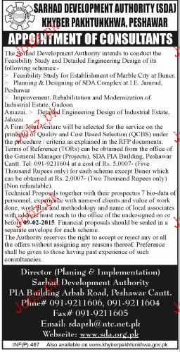 Consultants Job  in Sarhad Development Authority
