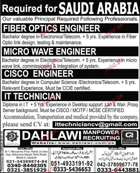 Micro Wave Engineers, IT Technicians Job Opportunity