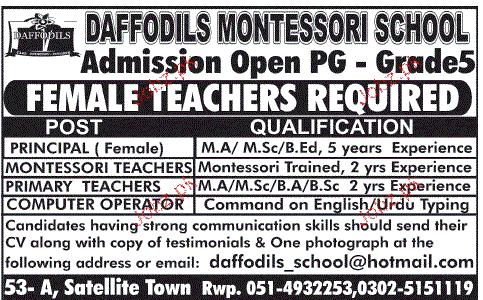 Principal, Montessori Teachers, Primary Teachers Wanted