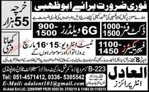 Duct Fitters, 6G Welders and Fabricators Job Opportunity
