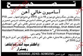 Assistant Professors Job in Shah Abdul Latif University