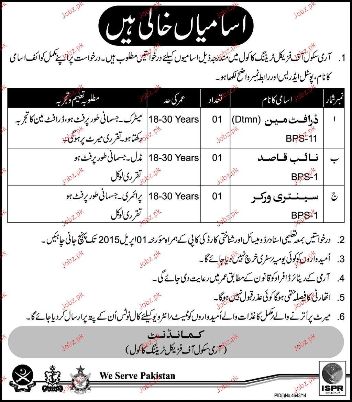 Draftsman, Naib Qasid and Sanitary Workers Job APS
