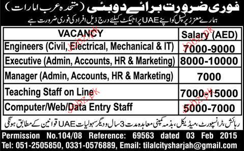 Teaching Staff, Engineers, Manager Admin Job Opportunity