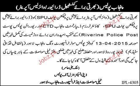 Constable Drivers and Wireless Operators Job Opportunity