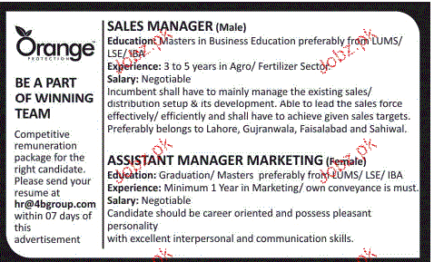 Sales Manager and Assistant Manger Marketing Wanted