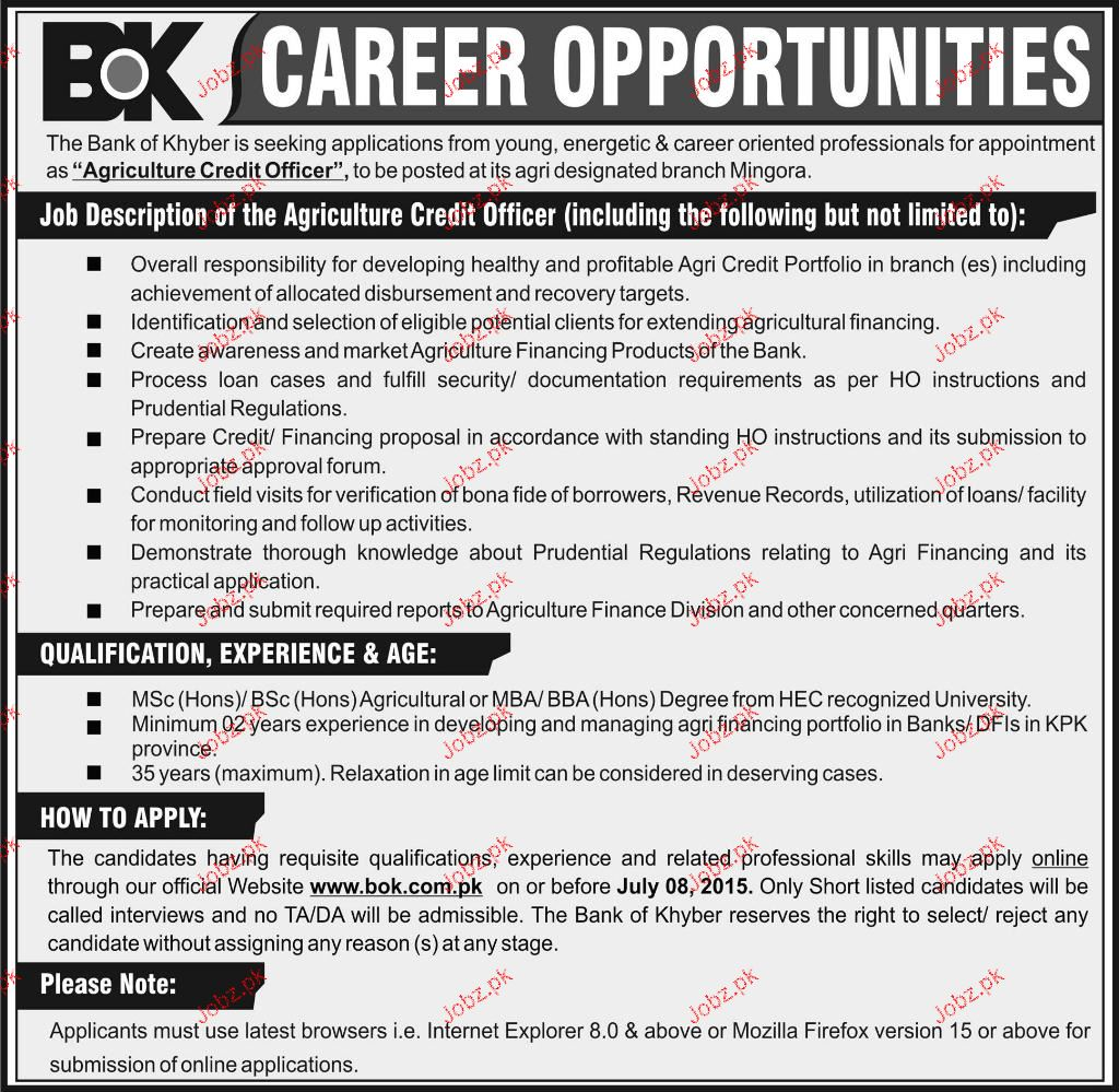 Agriculture Credit Officer Job Opportunity
