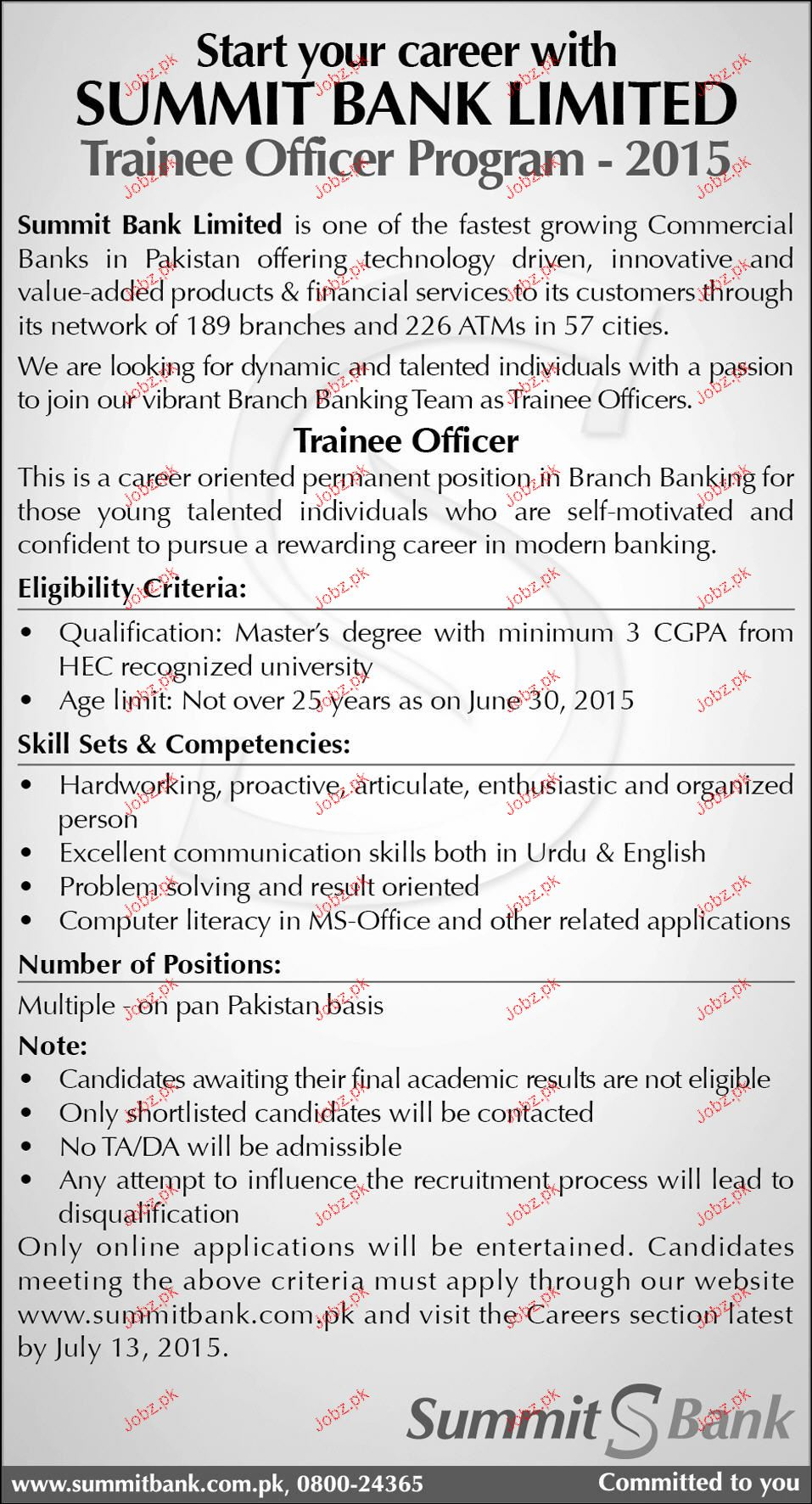 Trainee Officers Job in Summit Bank Limited