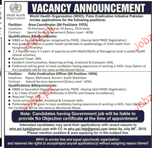 Polio Eradication Officer and Area Coordinator Wanted