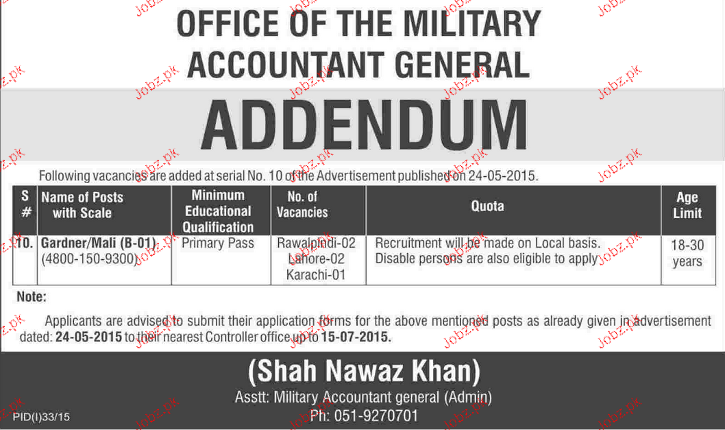 Gardner Job in Office of the Military Accountant General