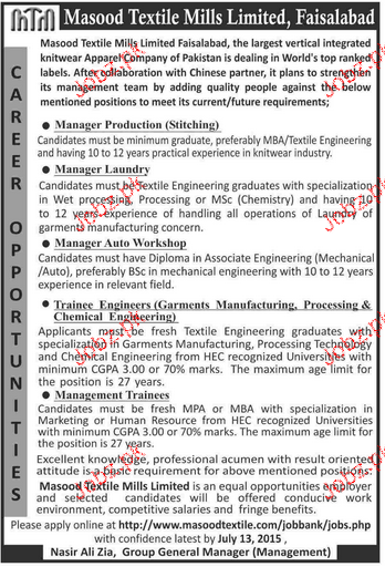 Manager Production, Manager Laundry Job opportunity